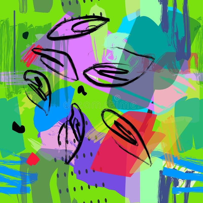 Teste padrão sem emenda abstrato Fundo artístico com texturas tiradas mão ilustração stock