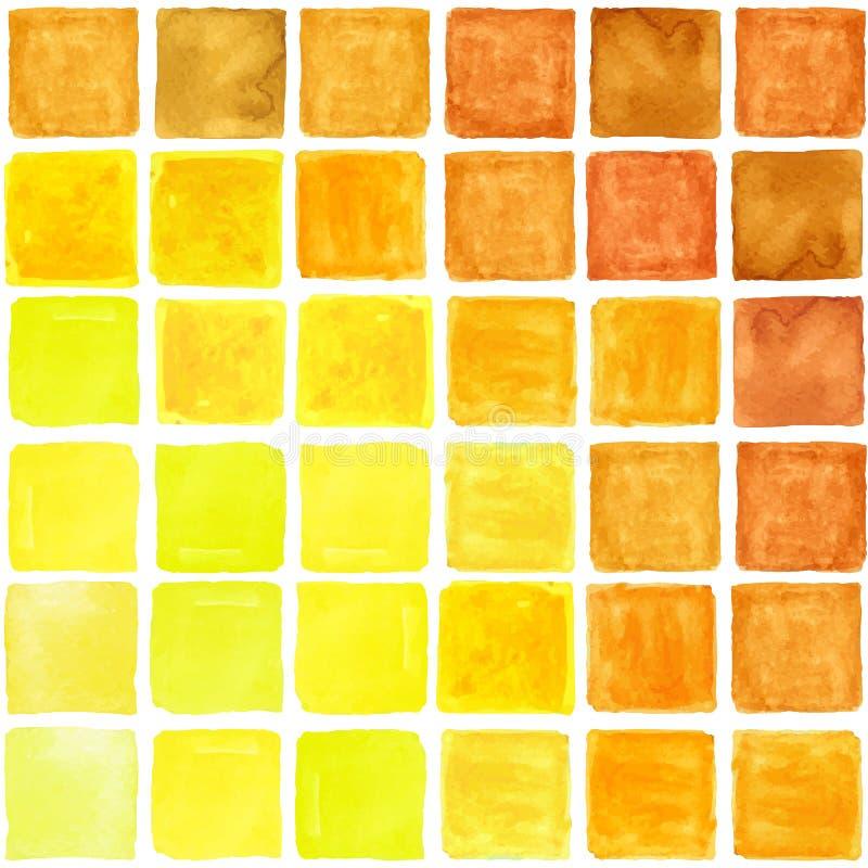 Teste padrão sem emenda abstrato quadrado da aquarela Brown, amarelo ilustração stock