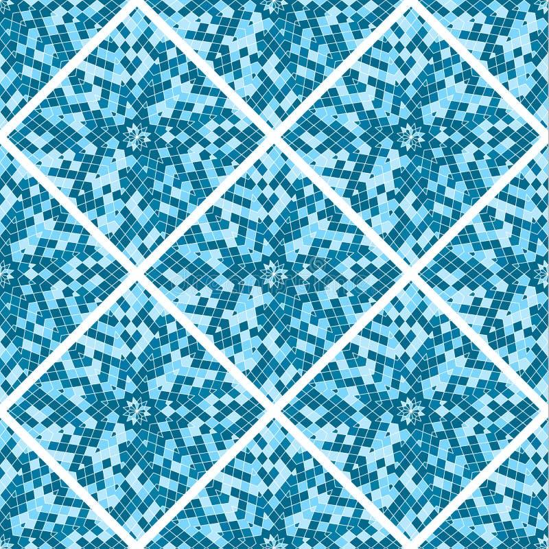 Teste padrão sem emenda abstrato Telhas de mosaico azuis A forma geométrica ilustração stock