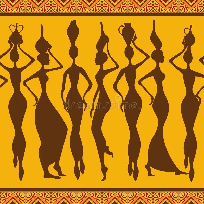 Teste padrão sem emenda africano com mulheres ilustração do vetor