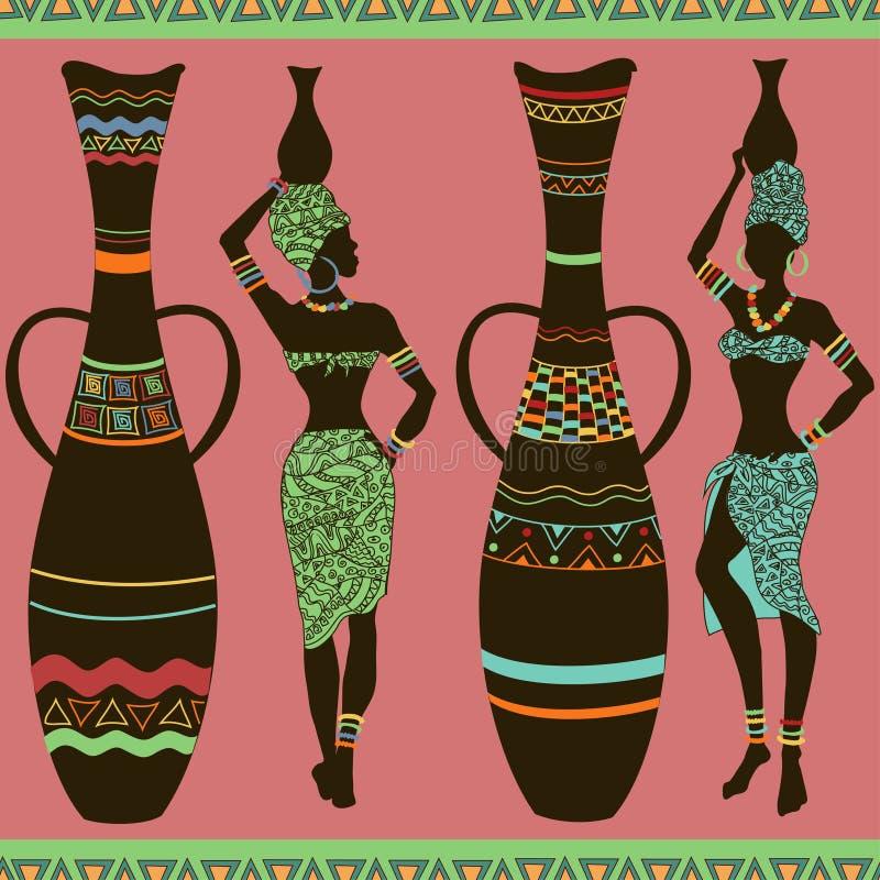 Teste padrão sem emenda africano das meninas e dos vasos ilustração do vetor