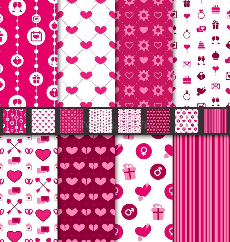 Teste padrão sem emenda ajustado de Valentine Day dos fundos ilustração royalty free