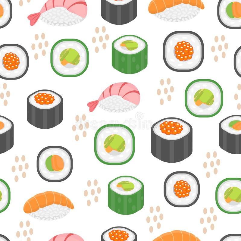 Teste padrão sem emenda ajustado do sushi Fundo infinito de Rolls Textura repetitiva da culinária japonesa Contexto, papel de par ilustração stock