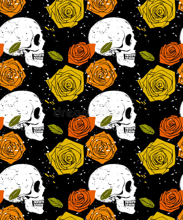 Teste padrão sem emenda alaranjado do crânio e da rosa ilustração royalty free