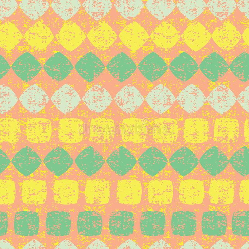 Teste padrão sem emenda alaranjado do vetor de listras do diamante e dos quadrados com textura do grunge Apropriado para a matéri ilustração stock