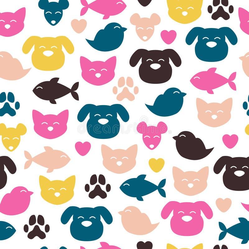 Teste padrão sem emenda alegre dos animais domésticos ilustração stock