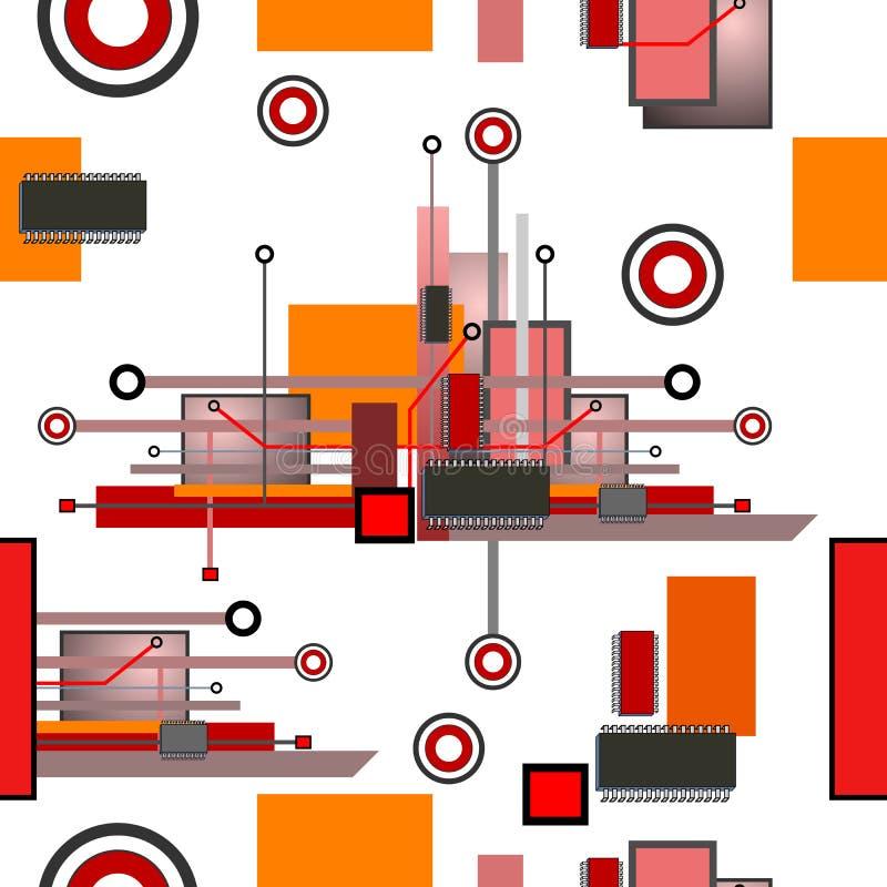 Teste padrão sem emenda alta tecnologia ilustração stock