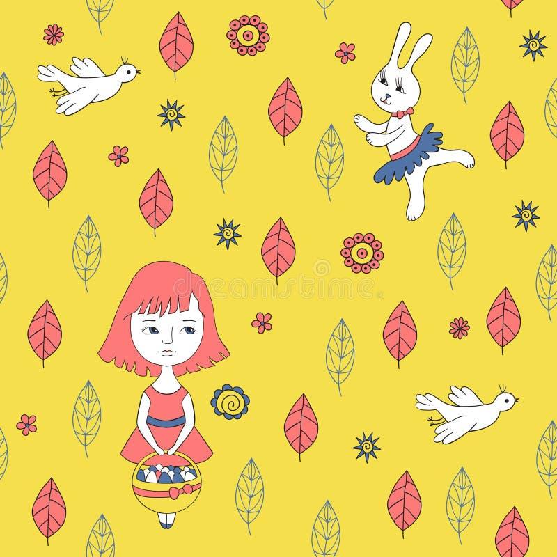 Teste padrão sem emenda amarelo com menina, galinha e coelho ilustração do vetor