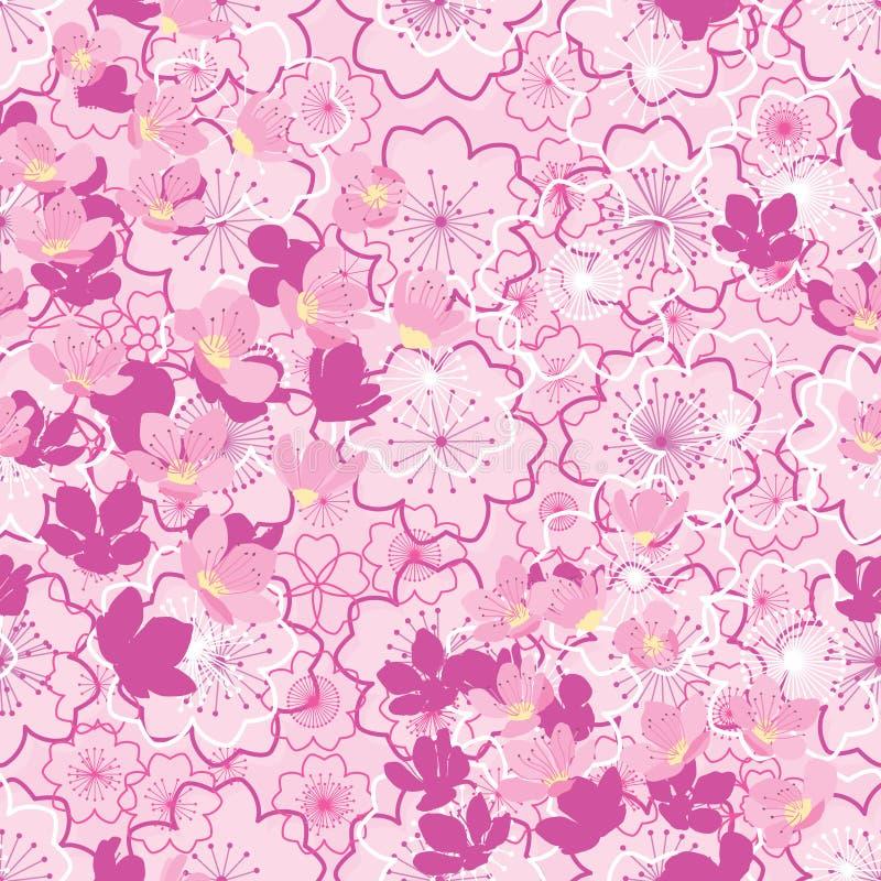 Teste padrão sem emenda amarelo cor-de-rosa de japão da flor de Sakura ilustração do vetor