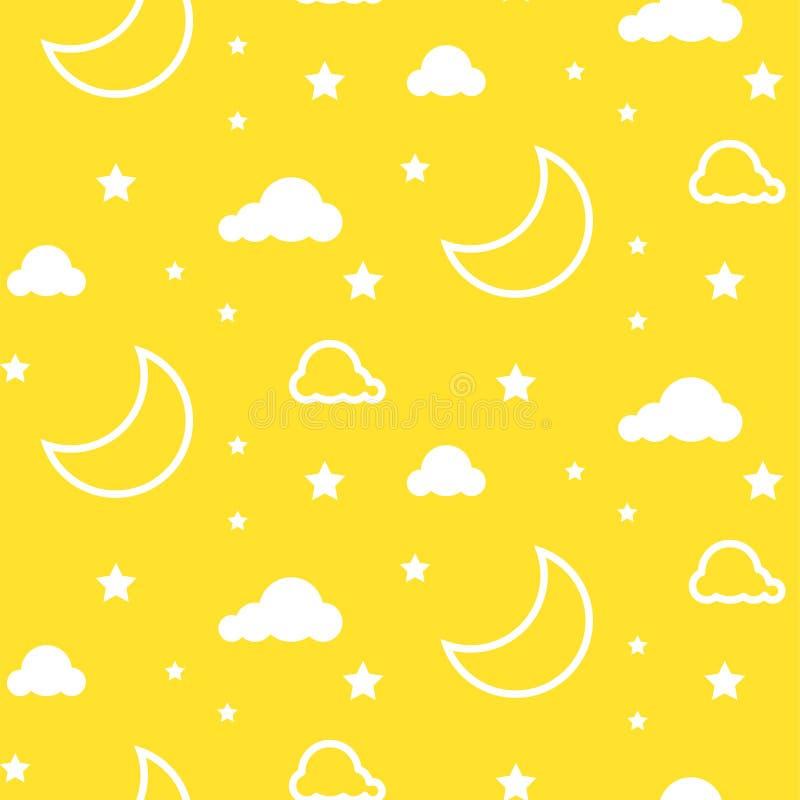 Teste padrão sem emenda amarelo do vetor da lua e das nuvens ilustração do vetor