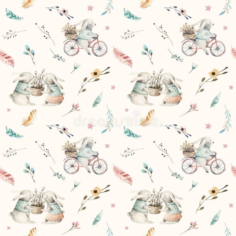 Teste padrão sem emenda animal do coelho bonito do bebê, ilustração da floresta para a roupa das crianças Boho tirado mão da aqua ilustração royalty free