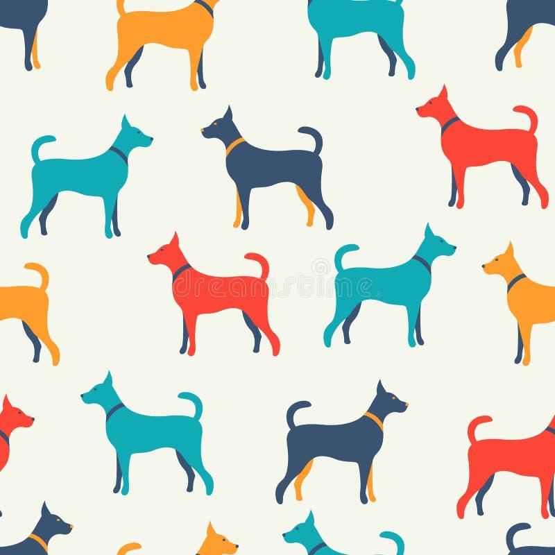 Teste padrão sem emenda animal do vetor de silhuetas do cão ilustração stock