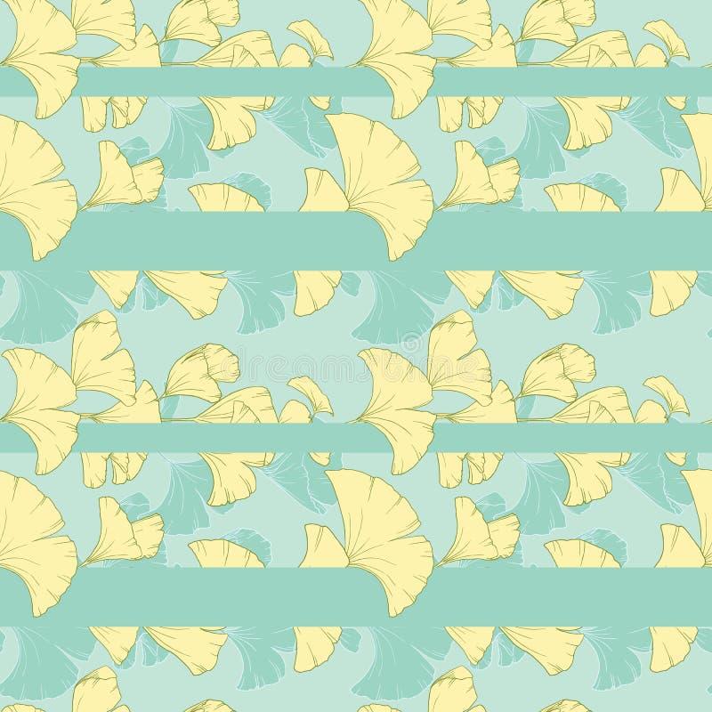 Teste padrão sem emenda, arranjo horizontal das folhas tiradas mão do ginko ilustração royalty free