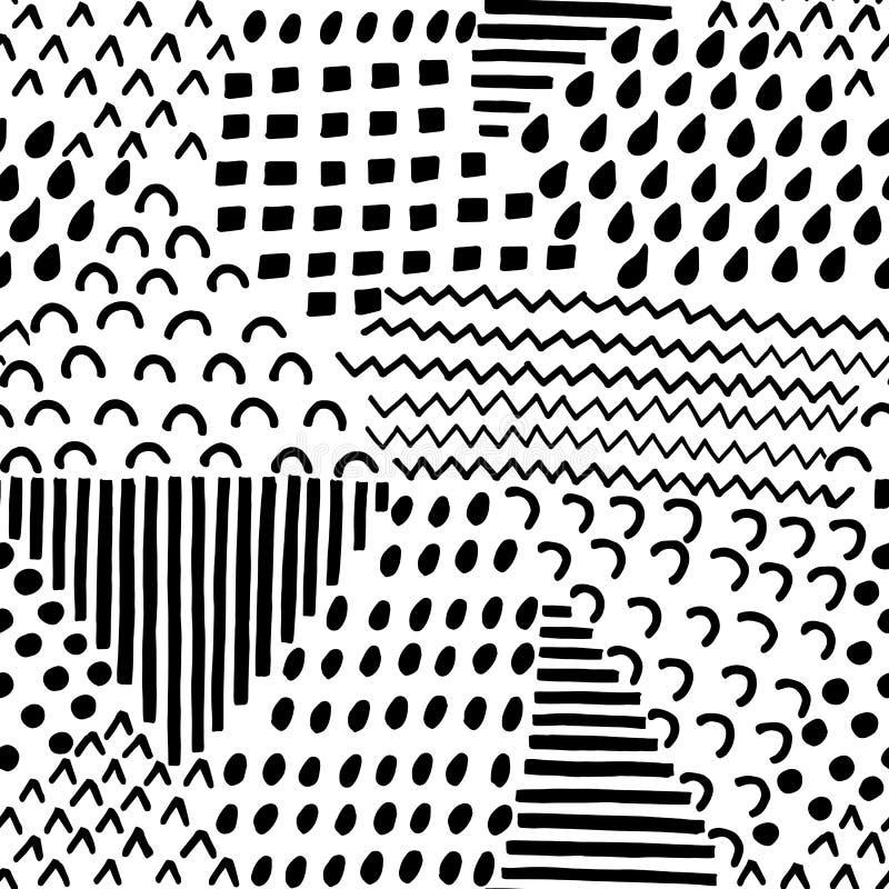 Teste padrão sem emenda artístico abstrato Fundo creativo com elementos abstratos Texturas tiradas mão ilustração do vetor