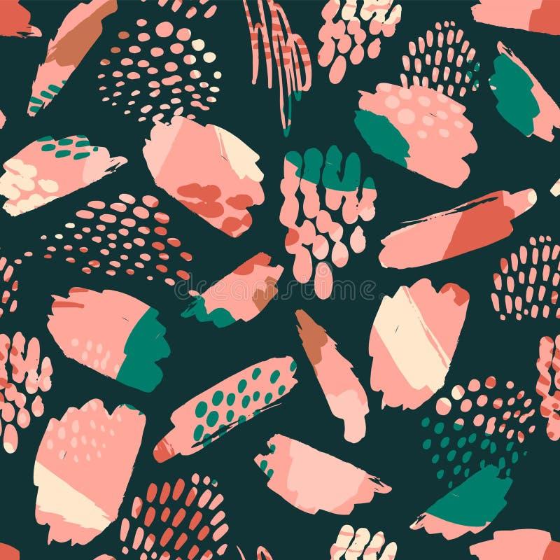 Teste padrão sem emenda artístico com mão na moda texturas tiradas, pontos do sumário, cursos da escova ilustração stock
