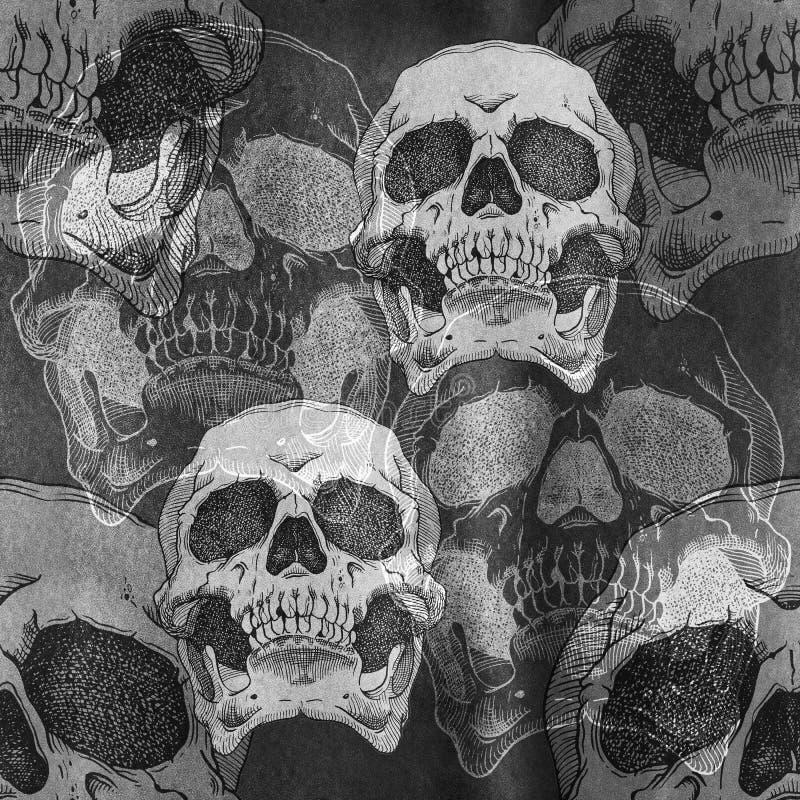Teste padrão sem emenda assustador terrível com crânio fotos de stock
