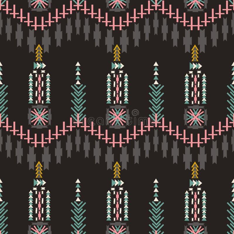 Teste padrão sem emenda asteca de Colorfull no fundo escuro Textura geométrica abstrata étnica Tela tirada mão do navajo pode ser ilustração royalty free