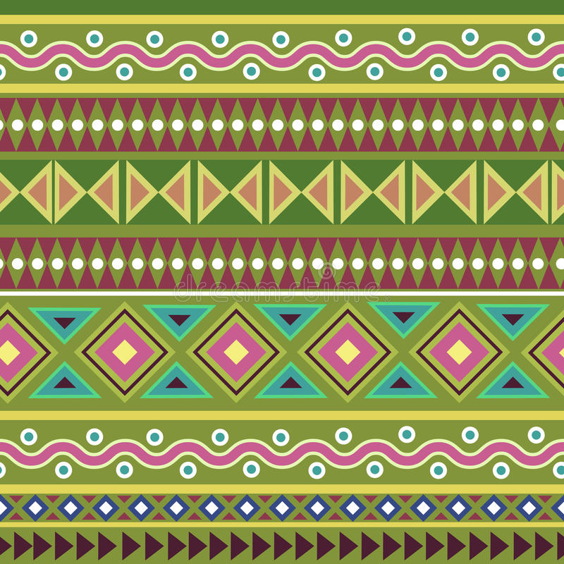 Teste padrão sem emenda asteca geométrico tribal colorido ilustração stock