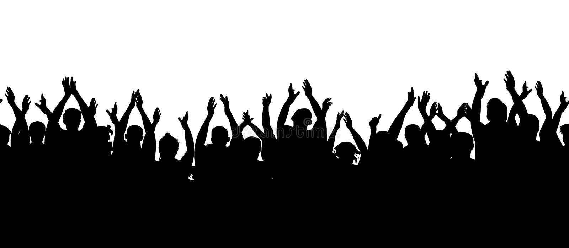 Teste padrão sem emenda Audiência do aplauso Cheering dos povos da multidão ilustração stock