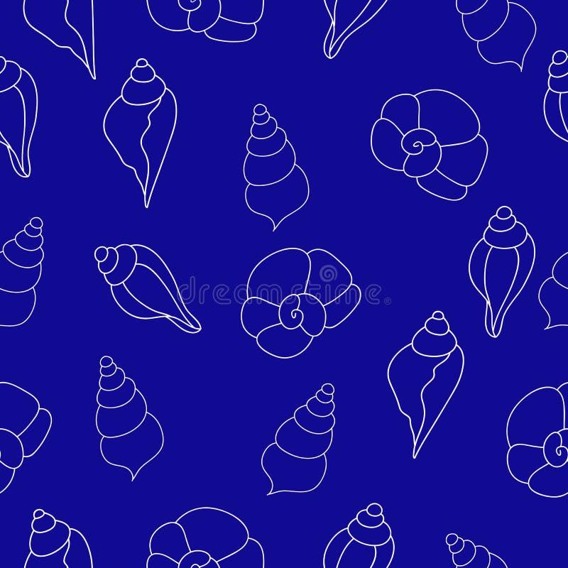 Teste padrão sem emenda azul com conchas do mar ilustração stock