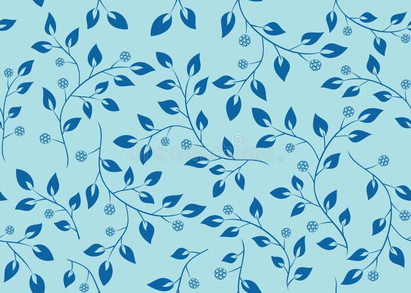 Teste padrão sem emenda azul com filiais ilustração do vetor