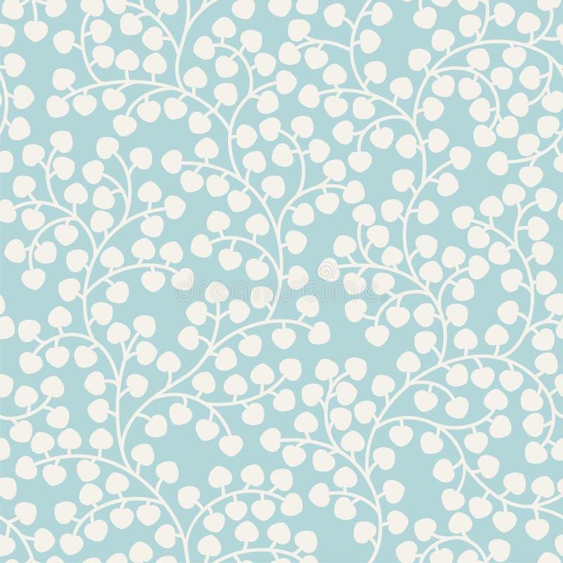 Teste padrão sem emenda azul com folhas ilustração stock