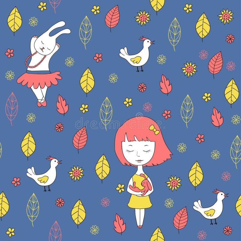 Teste padrão sem emenda azul com menina, galinha e coelho ilustração do vetor