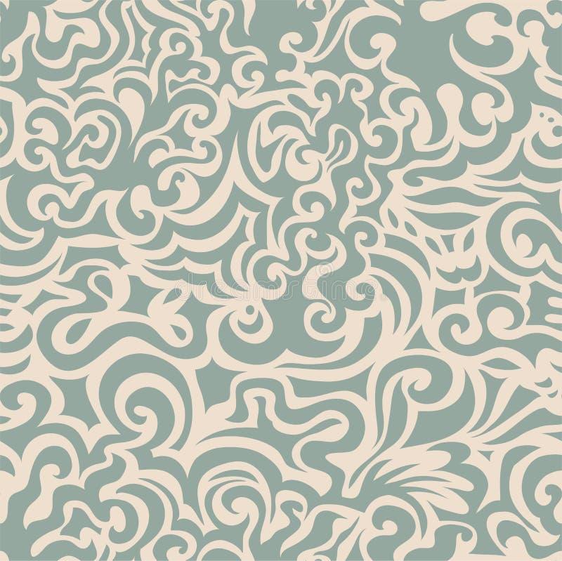 Teste padrão sem emenda azul Curly ilustração royalty free