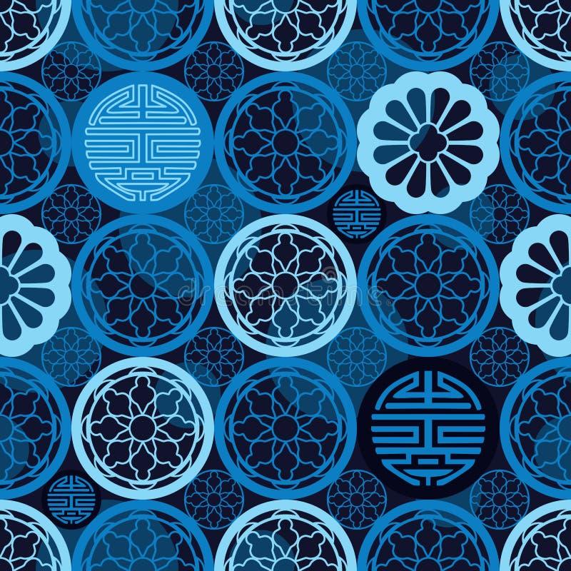Teste padrão sem emenda azul da simetria chinesa da longa vida da janela ilustração do vetor