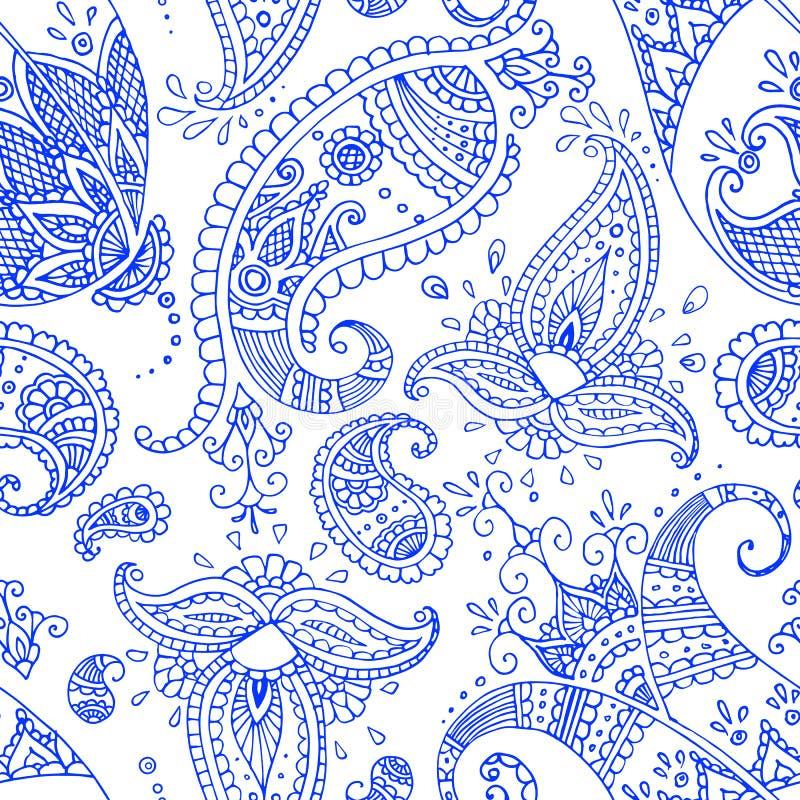 Teste padrão sem emenda azul de paisley imagem de stock