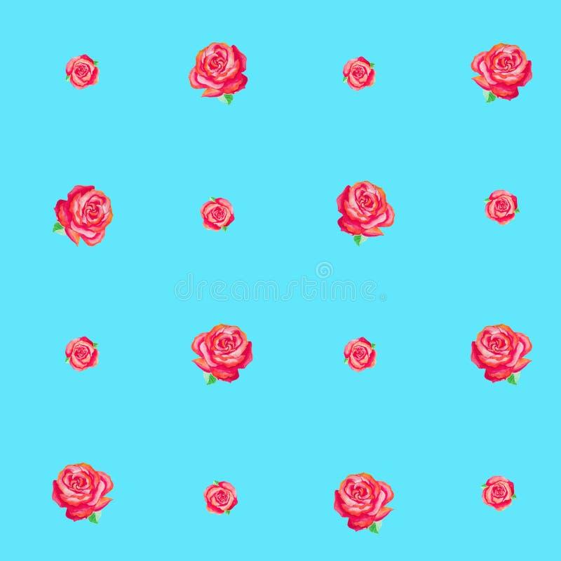 Teste padrão sem emenda azul de rosas vermelhas pequenas ilustração do vetor