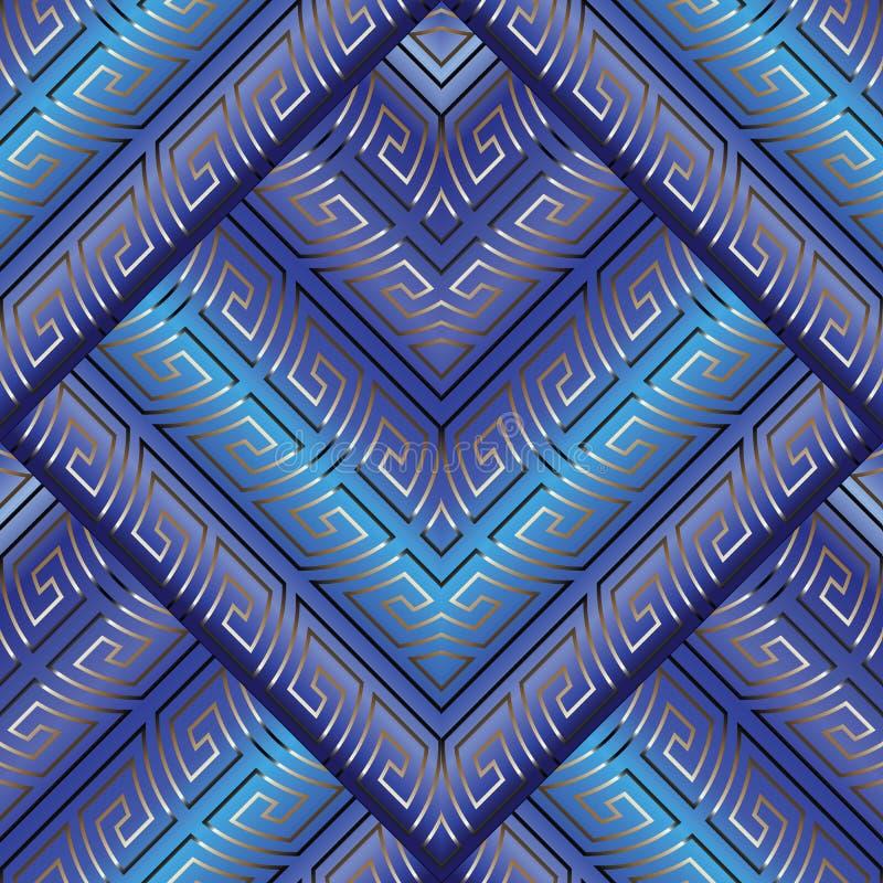 Teste padrão sem emenda azul do meandro chave grego ilustração royalty free