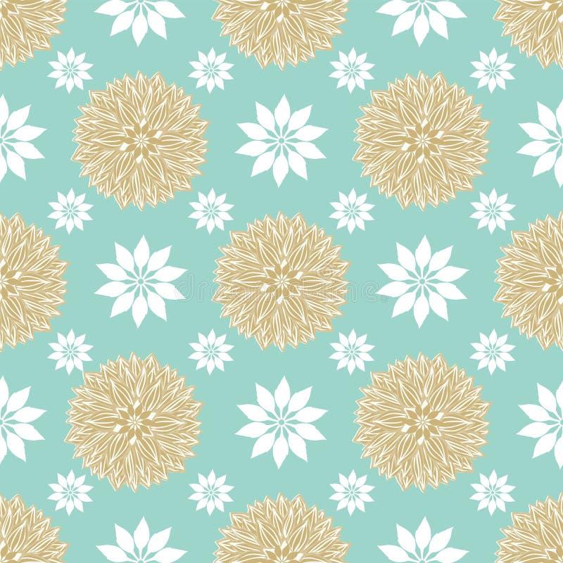 Teste padrão sem emenda azul, do ouro e das mandalas geométricas brancas da flor do vetor da repetição em um estilo escandinavo f ilustração do vetor