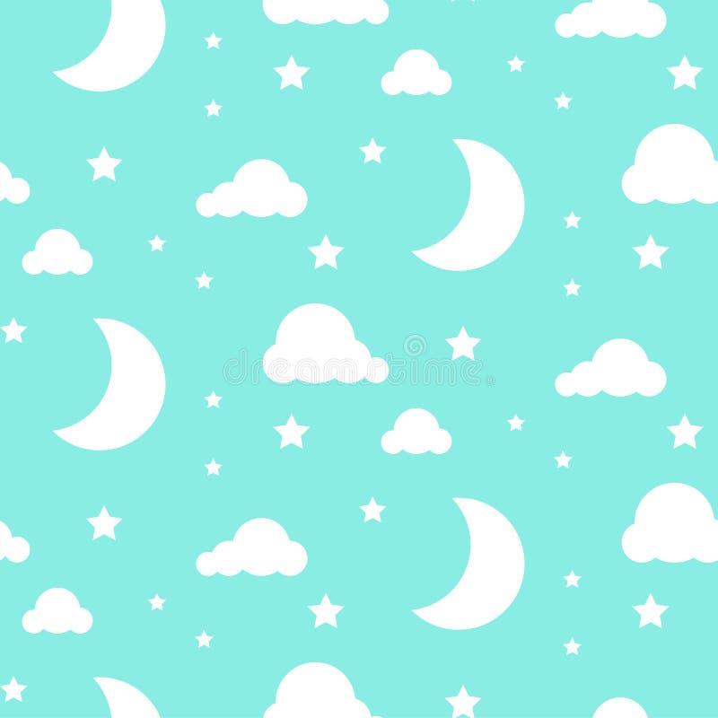 Teste padrão sem emenda azul do vetor da noite da luz das estrelas ilustração royalty free