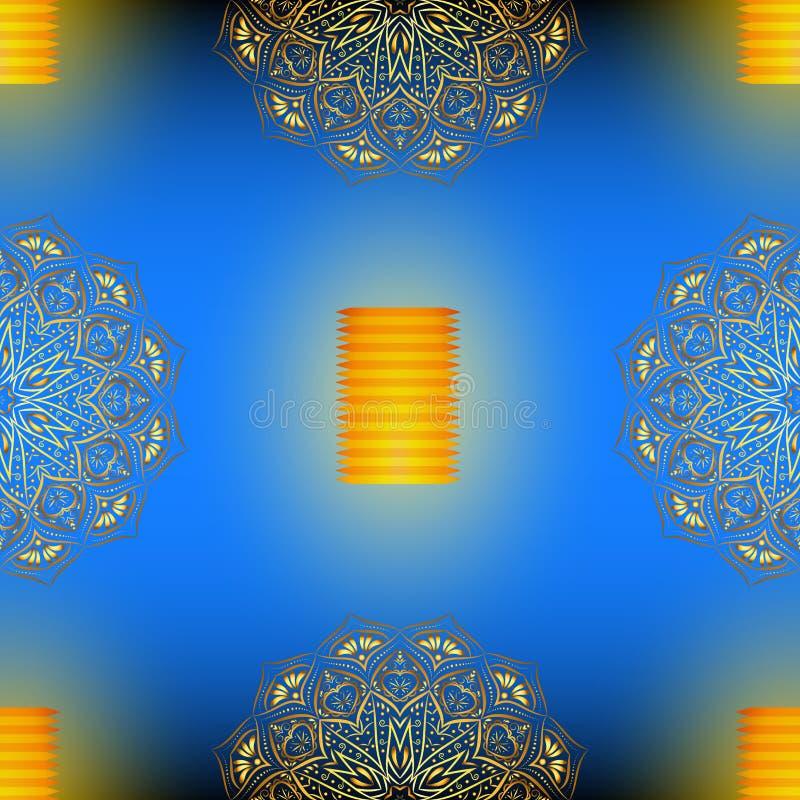 Teste padrão sem emenda azul do vetor de Diwali com mandala dourada ilustração do vetor