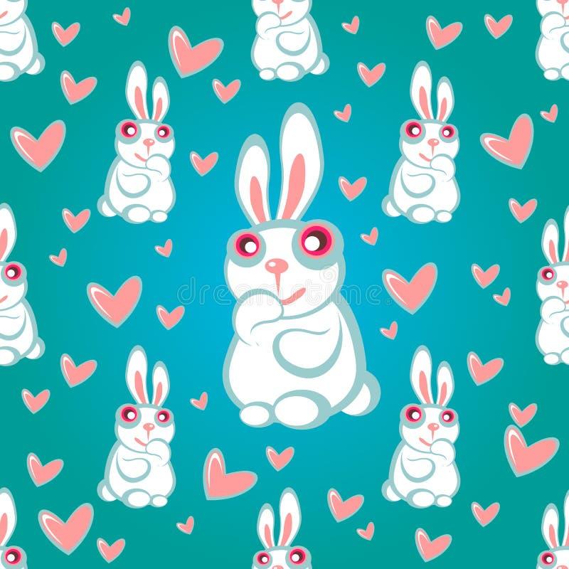Teste padrão sem emenda azul dos coelhos ilustração do vetor