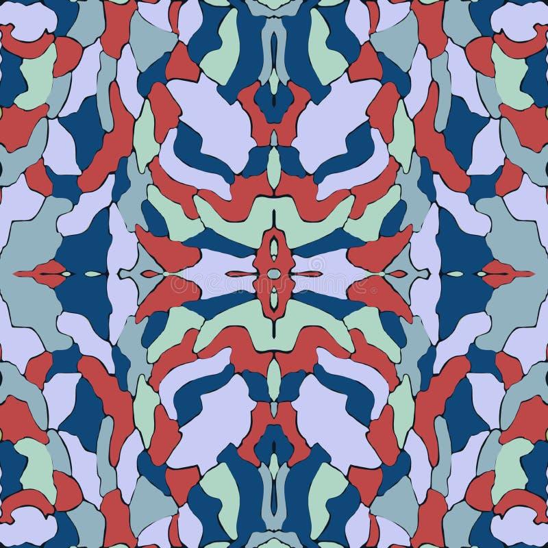 Teste padrão sem emenda azul e vermelho, fundo do caleidoscópio, projeto original para a forma imagens de stock royalty free