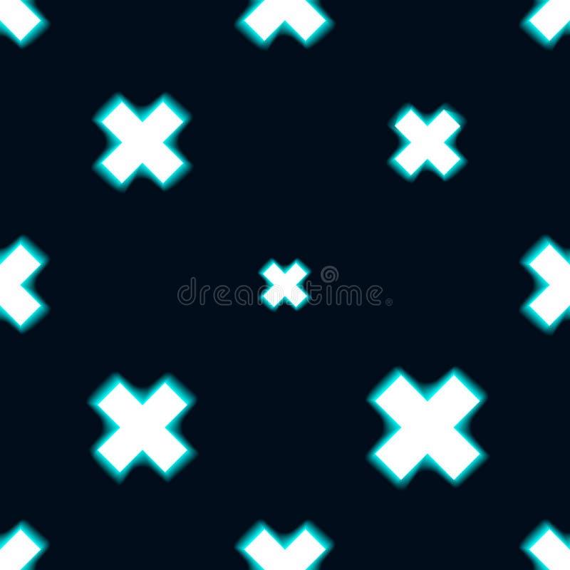 Teste padrão sem emenda azul feito com cruz shinning Fundo escuro Ilustração do vetor ilustração do vetor