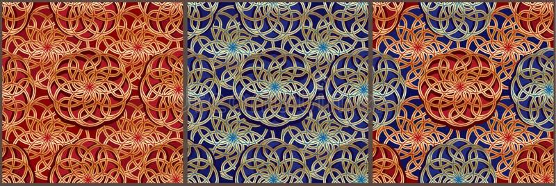 Teste padrão sem emenda azul vermelho dourado de Ásia da bola de Tai Ji ilustração royalty free