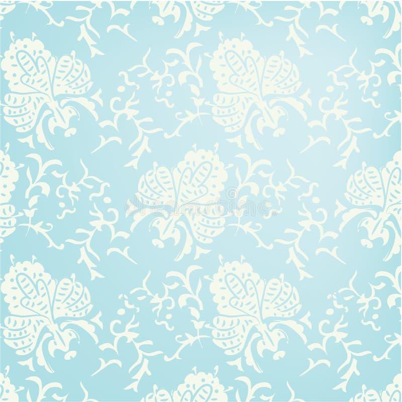 Teste padrão sem emenda barroco azul. ilustração royalty free