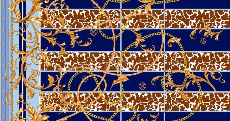 Teste padrão sem emenda barroco com correntes douradas e estuque Remendo para lenços, cópia do vetor, tela ilustração stock