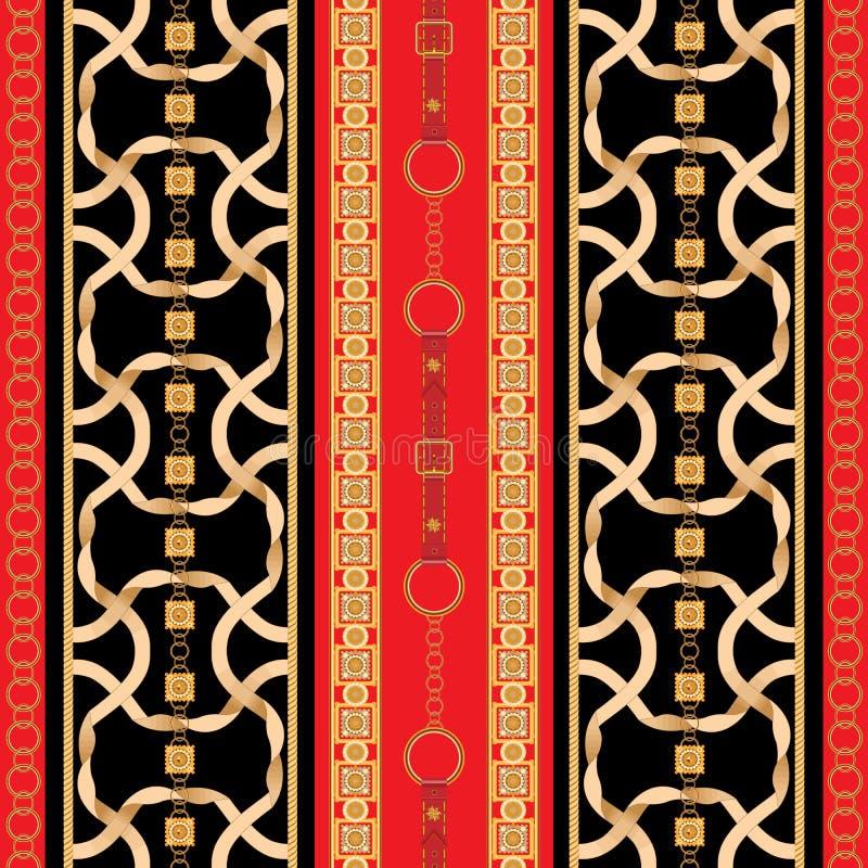 Teste padrão sem emenda barroco com fitas e as correntes douradas Remendo listrado para lenços, cópia, tela ilustração do vetor