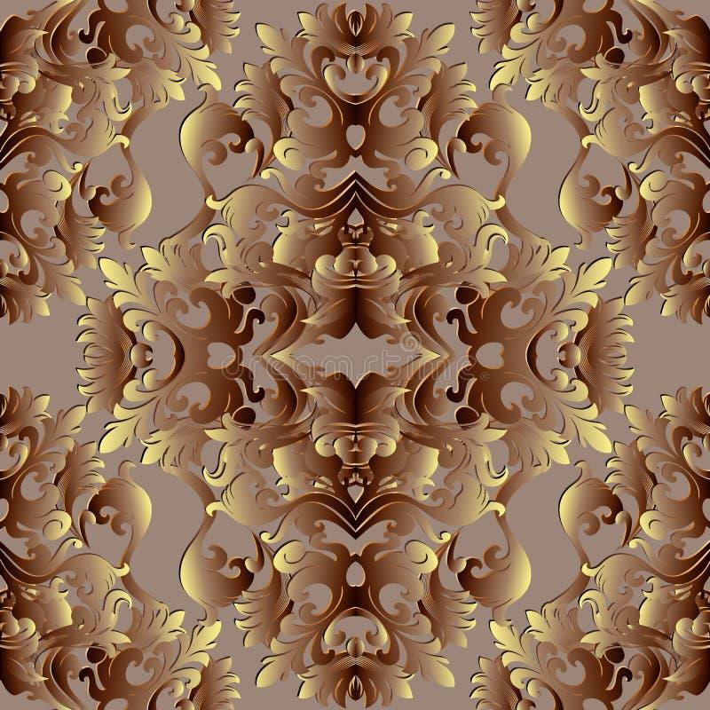 Teste padrão sem emenda barroco do ouro 3d Wallp floral do fundo do vetor ilustração stock