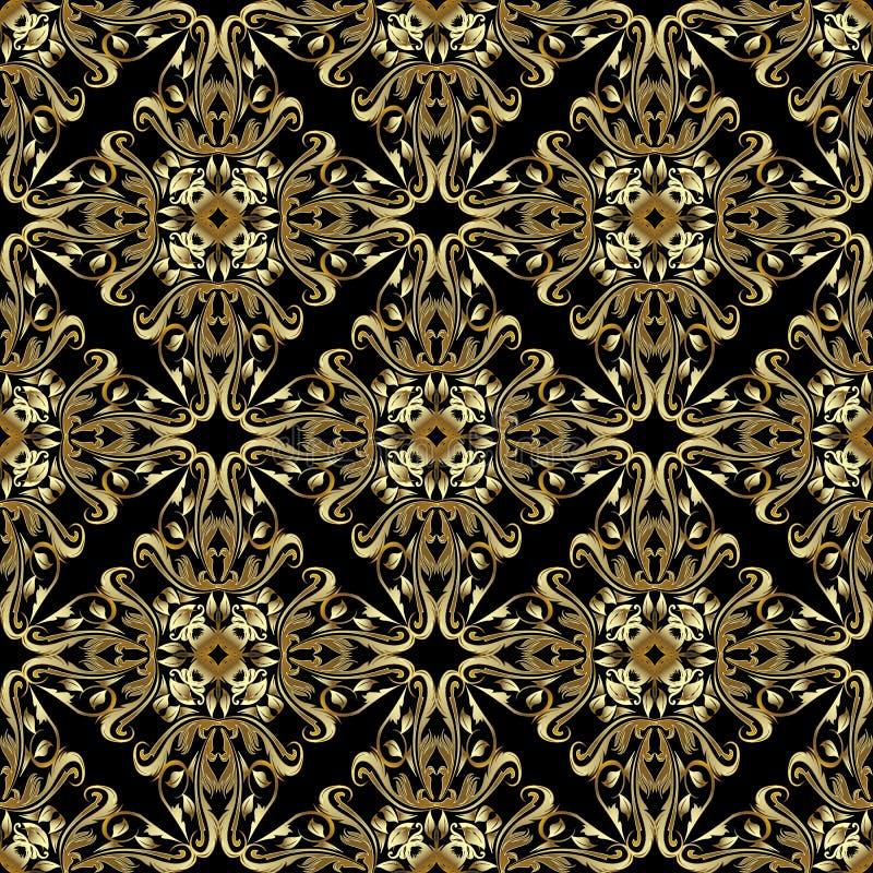 Teste padrão sem emenda barroco do ouro Fundo do damasco do vetor do vintage ilustração do vetor