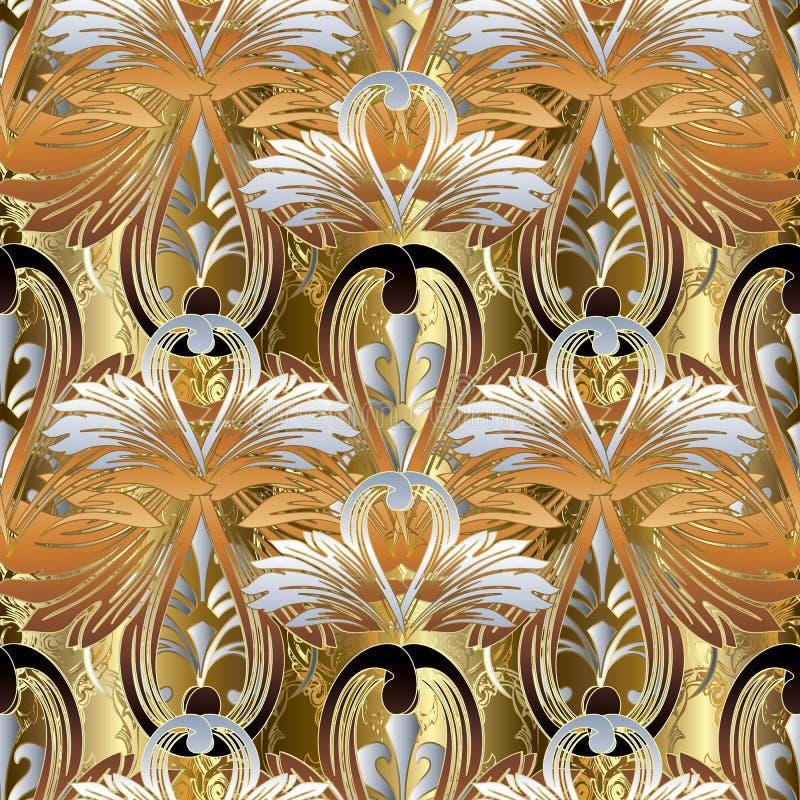 Teste padrão sem emenda barroco floral Backgroun dourado antigo do vetor ilustração royalty free