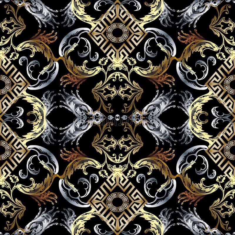 Teste padrão sem emenda barroco Wallpap preto do fundo do damasco do vetor ilustração royalty free