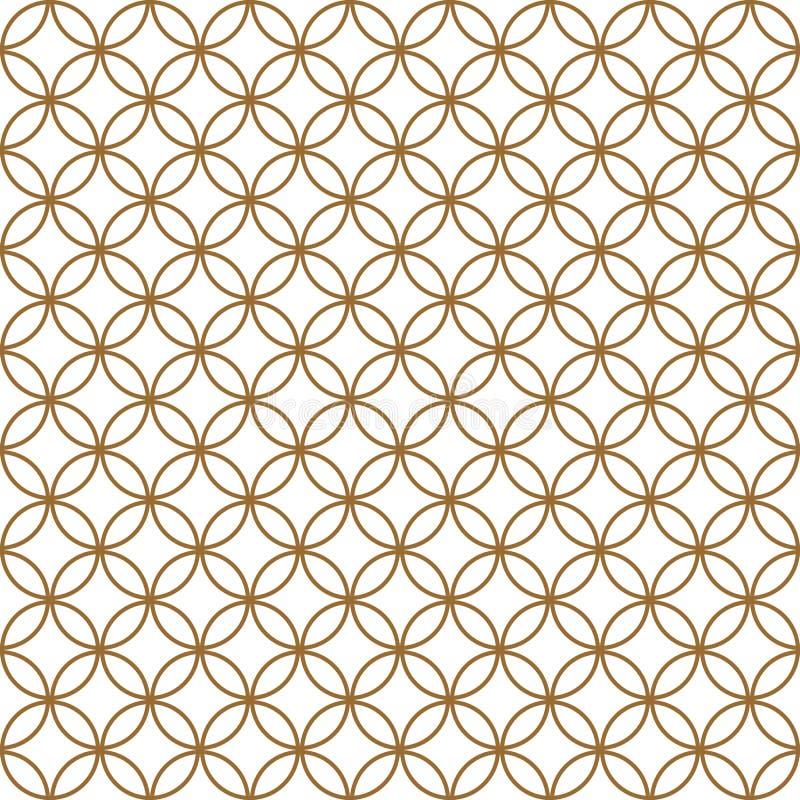 Teste padrão sem emenda baseado no ornamento japonês Kumiko Cor dourada imagens de stock