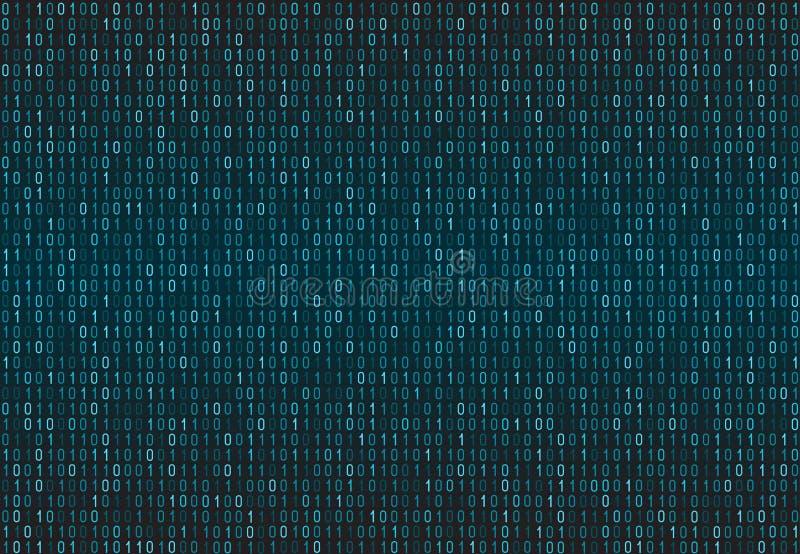 Teste padrão sem emenda binário do código de computador Fundo da matriz com dígitos 1 ilustração royalty free