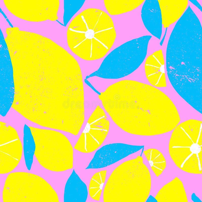 Teste padrão sem emenda bonito brilhante e do divertimento do verão Desenho gráfico do limão fresco Mistura moderna e na moda de  ilustração royalty free