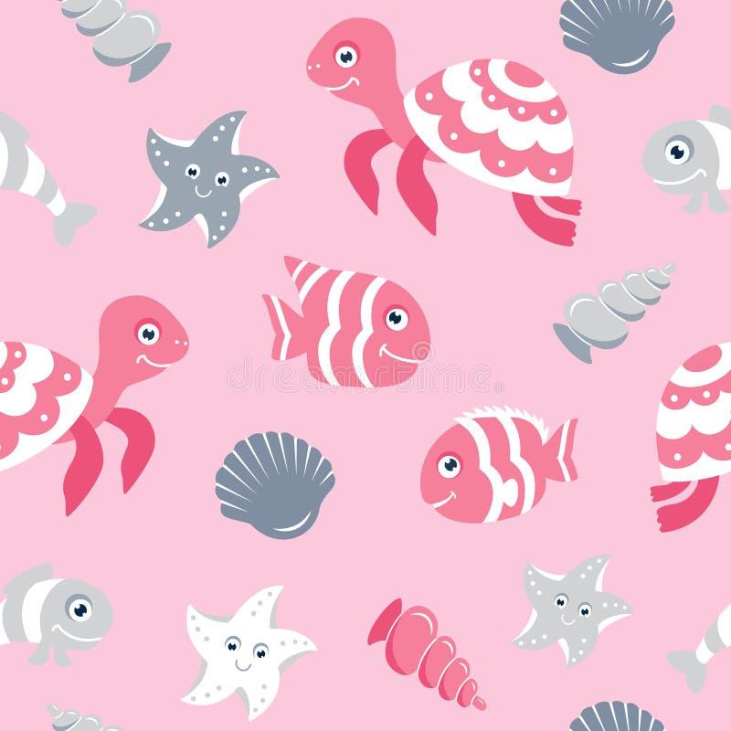 Teste padrão sem emenda bonito com animais de mar ilustração stock